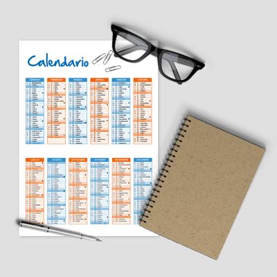 Calendari annuali in carta (flessibili)